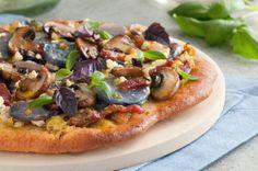 Purple potato, cremini mushroom, & goat chevrai cheese pizza!