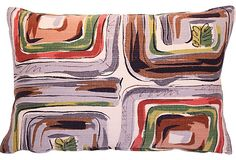 Midcentury Barkcloth Pillow, Small