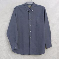 Mens LL BEAN Tan Blue Check Traditional Fit Button Front Casual Shirt Size Large #LLBean #ButtonFront