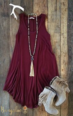 Swingy t-shirt dress, open-toe booties, and gold j… - This #BohoChic outfit will be perfect with #GoaLaserFactory wooden earrings