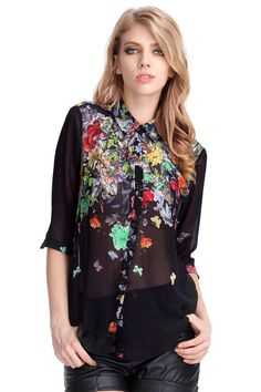 ROMWE | Black Gradient Floral Blouse, The Latest Street Fashion #ROMWE