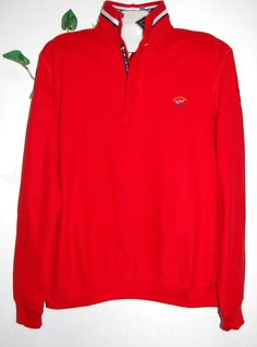 Paul & Shark AUTHENTIC Red Cotton Men's Knitted Italian Sweater Size 2XL $335 #PaulShark #12Zip