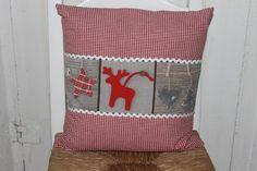 Kissen - Kissenbezug kleiner Elch -rot karriert - ein Designerstück von fraeulein-froehlich bei DaWanda