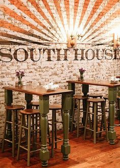 Southern Charm in Jersey City - Using old school and vintage table legs to make hightop tables at a southern-inspired restaurant. Interior Design, Home Decorating and Dog Musings from Jersey City | DESIGNER DOWNLOAD: Bringing Southern Charm to Jersey City (Part 1)