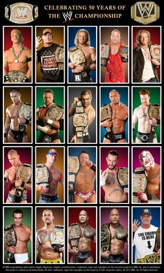 WWE Champions of all time! John Cena, Edge, RVD, Randy Orton, Triple H, Jeff Hardy, Batista, Sheamus, The Miz, CM Punk, Rey Mysterio, Alberto Del Rio, & The Rock