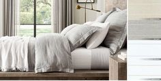 Embroidered Stripe Linen Bedding Collection | RH