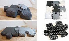 Jigsaw puzzle floor pillows!