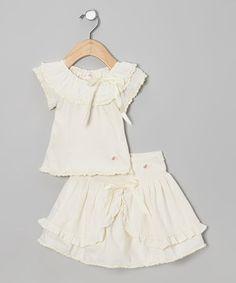 Élysées Bébé Ivory Cap-Sleeve Top & Apron Skirt - Infant by Élysées Bébé #zulily #zulilyfinds
