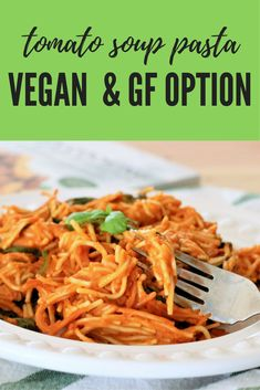 Tomato Soup Pasta- One Pot Meatless Meal Ready in 10 Minutes! A simple meal that comes together with tomato soup and a box of pasta! Egg Free Recipes, Healthy Pasta Recipes, Easy Soup Recipes, Healthy Pastas, Veggie Recipes, Lunch Recipes, Vegetarian Recipes, Dinner Recipes, Vegetarian Options