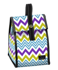 This Purple & Green Zigzag Insulated Lunch Bag by SCOUT by Bungalow is perfect! #zulilyfinds