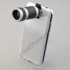 8X Zoom Camera Telescope Lens   Clear Case for Samsung Galaxy Note2 II N7100 US$15.99