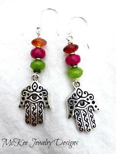 Gemstones and Sterling silver  Hamsa Hand. Fatima Hamsa earrings.