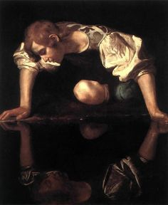 """Narcissus"" by the Italian Baroque master Caravaggio, painted circa 1597–1599. Attributed to Caravaggio by Roberto Longhi in 1916. One of two known Caravaggios on a theme from Classical mythology. The story of Narcissus, told by the poet Ovid in his Metamorphoses, is of a handsome youth who falls in love with his own reflection. Unable to tear himself away, he dies of his passion, and even when crossing the Styx, keeps looking at his own reflection. Galleria Nazionale d'Arte Antica, Rome."