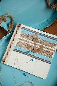 Unique elegance nautical themed guest book Books For Boys, Beach Crafts, Nautical Theme, Christening, Boy Or Girl, Burlap, Ocean, Animal, Decoration