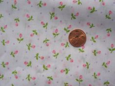 Vintage 1980s Cute Pink Rose Buds and purple dots by tessimal, $8.50