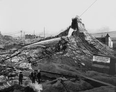 "Denny Regrade, 1907. Photo © Asahel Curtis/MOHAI. 1903-1911 Peak period of the Denny Regrade: 16 million cubic yards were removed from Seattle hills, mostly by water blasting. About half of the spoils were deposited in the tideflats, forming Harbor Island."" www.eopugetsound.org"
