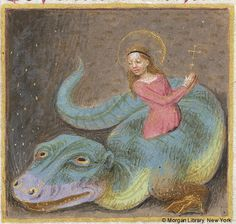 St Margaret escaping from the dragon's digestive tract. The look on the dragon's face does seem to suggest indigestion. Medieval Manuscript Images, Pierpont Morgan Library, Book of hours (MS MS fol. Dragon Medieval, Medieval Life, Medieval Art, Medieval Manuscript, Illuminated Manuscript, Weird Creatures, Mythical Creatures, Ste Marguerite, Dragons