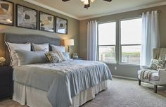 Traditional Master Bedroom with Crown molding & flush light in Little Elm…