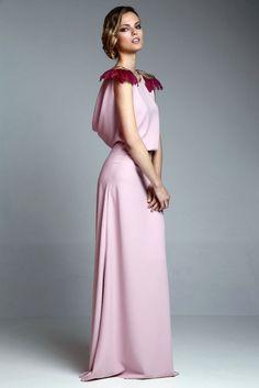 vestido largo rosa palo drapeado de apparentia collection online