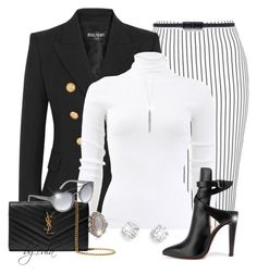 """""""Stripes in the Office"""" by eula-eldridge-tolliver ❤ liked on Polyvore featuring Topshop, Balmain, Michael Kors, Belk & Co., Roberto Coin, Lord & Taylor, Yves Saint Laurent, Christian Louboutin and Zara"""
