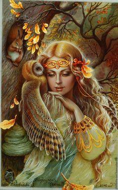 Купить Подружка Осень (панно-картина) - комбинированный, лаковая миниатюра, живопись маслом, живопись на камне