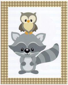 Baby Boy Art Decor, Kids Wall Art, Nursery Wall Art, Baby Boy Room Art, Woodland Nursery, Raccoon,Owl, 8x10 Print. $12.00, via Etsy.
