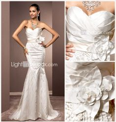 LIghtInTheBox Wedding Dress: Trumpet/Mermaid Sweetheart Sweep/Brush Train Satin And Tulle Wedding Dress