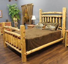 cedar wood bed frame | Red Cedar Arkansas Post Log Bed - JHE's Log Furniture Place