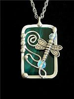 handmade dragonfly stained glass pendant necklace