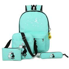 blue cat backpacks for girl pink printing bagpack for school casual crossbody school set bags pencil pocket shoe bag WM228YL