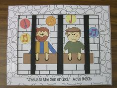 Paul and Silas in the jail in Philippi. I found clip art brickwork for the inside of the jail cell. The cover (also found clip art) is taped on the left so the door can be opened. The children taped the bars to the back of the prison door, glued our Bible verse to the front page, and glued the Paul and Silas figures to the second page. Then they added music notes stickers.