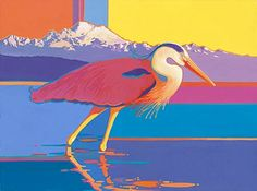 "Jennifer Bowman's work, ""Summer Heron"" that will be the poster art for 2013 Anacortes Arts Festival"