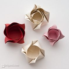 DIY: rose-shaped origami box for sweets  Pascale De Groof via Luiza onto DIY, Crafts and ideas with Paper
