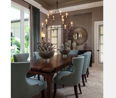 Live Love in the Home: 10 Popular Interior Design Photos - Dining Room Collection Dining Room Design, Dining Room Furniture, Dining Room Table, Room Chairs, Blue Chairs, Dining Set, Dining Table Decorations, Furniture Ideas, Dark Furniture