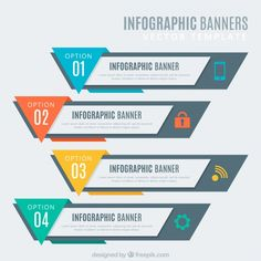 Infographic element with icons and 4 options or steps Vector Web Design, Slide Design, Graphic Design, Modele Flyer, Magazine Ideas, Prospectus, Powerpoint Design Templates, Infographic Templates, Create Infographics