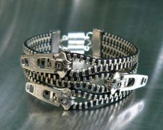 Industrial Hex Nut Zipper Bracelet Chain by PeteAndVeronicas