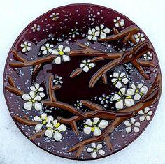 """Repina Elena. Plate glass """"apple blossom"""" fusing"""
