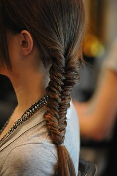 Side fishtail braid.