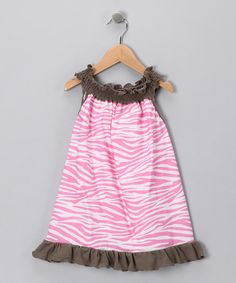 Take a look at this Taupe & Pink Zebra Smocked Tunic - Toddler & Girls by Million Polkadots on #zulily today!
