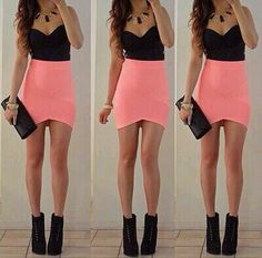 Sweetheart neckline shirt with a pink bandage skirt black shoe boots & geometric jewelry