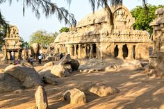 Five-Rathas - Dating from the 7th century. Each structure was sculpted from one enormous stone and they are joined by equally large rock animals, including a massive elephant. The rathas were hidden in the sand until excavated by the British 200 years ago.