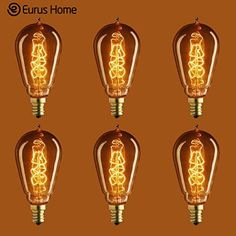 Eurus Home 25 Watt  Vintage Antique Light Bulb  ST15 Edison Style  Candelabra Base  HandWound Spiral Tungsten Filament  Multiple Supports  Clear 6 Pack