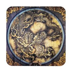 Cool traditional japanese oriental dragon wood art beverage coaster