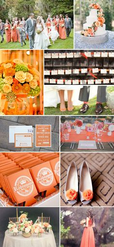 Celosia orange wedding inspiration board. With the name inspired from the Celosia flowers, celosia orange is more vibrant and brighter than the usual orange. Because it's a rather strong color, pairing with lighter color shades will create great-looking contrast for your wedding