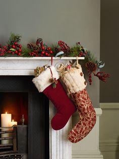 Buy John Lewis Ruskin House Velvet Stocking, Red from our Christmas Stockings range at John Lewis & Partners. Merry Christmas Eve, Christmas Mantels, Cozy Christmas, Christmas Holidays, Christmas Decorations, Holiday Decor, Christmas Ideas, Holiday Ideas, Xmas