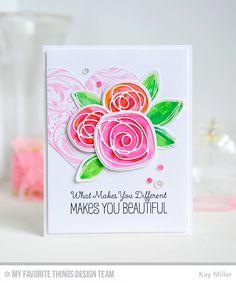 card flower heart MFT circle scribble flowers roses leaves Die-namics MFT Tickled pink Die-namics #mftstamps