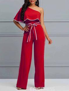 dea94911a2b6 Ericdress Oblique Shoulder Simple Striped Women s Jumpsuits Jumpsuits For  Women