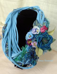 Necklace style boho,shabby chick,  fabric flowers, fashion,Boho, eco,recycled, cotton,crochet