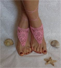 Sandalias sandalias Descalzas descalzo rosa de ganchillo por AkBro