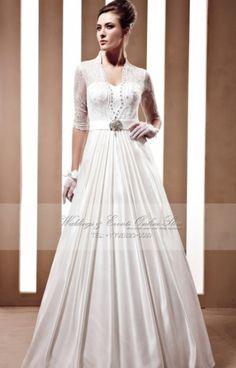 Elegant A-Line Sweetheart Satin Floor-Length Wedding Dress 2652dbb83c19